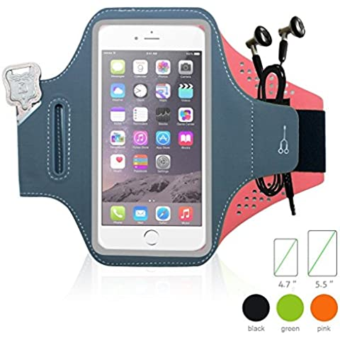 almondcy brazalete deportivo para iPhone 6/6S, sudor funda de manguitos con extra adjustable-length extention banda & Bolsillo para llaves