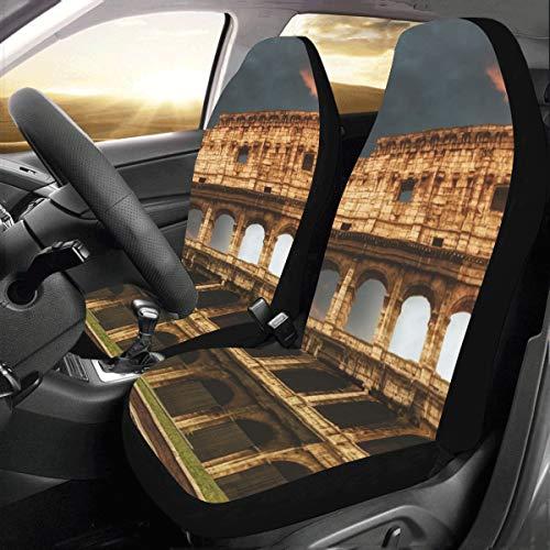 Coprisedili per auto di piccole dimensioni Famoso Colosseo a Roma Italia Universal Fit Coprisedili per auto per auto Protezione per camion Auto Suv Veicoli Donne Lady (2 anteriori) Coprisedili post