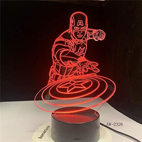 WoloShop Lampara LED Escudo Capit/án Am/érica Cambia Color USB Luz Nocturna