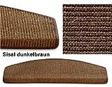 Floordirekt Sisal Stufenmatten - 24x65cm, dunkelbraun