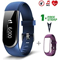 CHEREEKI Fitness Tracker [versione aggiornata] Activity Tracker Smartwatch con monitor pulsazioni cardiache resistente all'acqua Slim Smart Bracelet Compatibile con Android e iOS Smartphones