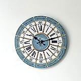 Estilo Europeo Vintage Madera Reloj De Pared Moda Falso Desgaste Cuerda Silencio Colgante Reloj Nostálgico Retro Hacer Viejas Decoraciones De Pared Reloj Para Bar Café Sala De Estar Dormitorio Estudio Uso Habitación (Diámetro 35Cm)