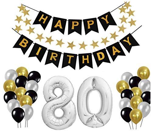 Geburtstag Dekoration Set, Deko Geburtstag, Geburtstagsdeko, Happy Birthday Dekoration. Zahlen Luftballons Silber XXL + 24 Große Geperlte Ballons + 1 Happy Birthday Banner (80)