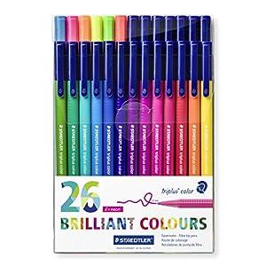 Staedtler 323 TB26. Rotuladores de colores de punta fina Triplus Color. Pack de 26 marcadores de colores variados.