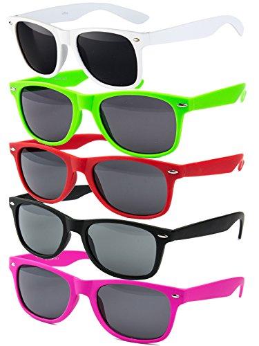 5 er Set EL-Sunprotect Sonnenbrille Nerdbrille Brille Nerd Matt Gummiert Weiß + Grün + Rot + Pink...