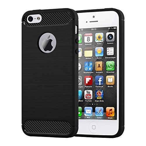 Preisvergleich Produktbild Cadorabo Hülle für Apple iPhone 5 / iPhone 5S / iPhone SE - Hülle in BRUSHED SCHWARZ – Handyhülle aus TPU Silikon in Edelstahl-Karbonfaser Optik - Silikonhülle Schutzhülle Ultra Slim Soft Back Cover Case Bumper