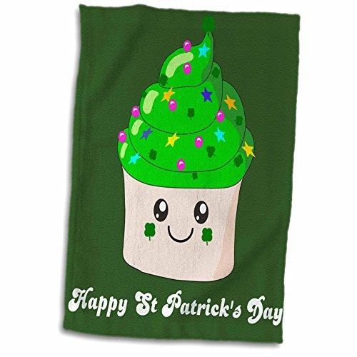 b5189ef01ad 3dRose Happy Saint Patricks Day, St Paddy's Cute Green Cupcake, Kawaii  Irish Gifts, Ireland Shamrocks Towel, White, 15 x 22 Pulgadas
