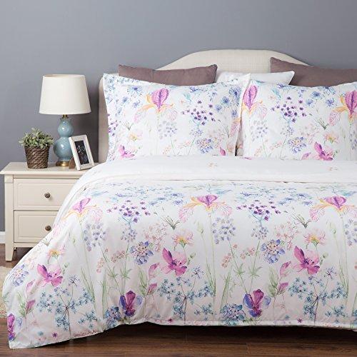 Bedsure Bettwäsche 155x220cm Bettbezug mit Blumenmuster, 3-teilig Bettwäsche Set (1 Bettbezug mit Reißverschluss & Eckbändchen + 2 Kissenbezüge 80x80cm), Super Weiche Mikrofaser Bettwäsche Garnitur