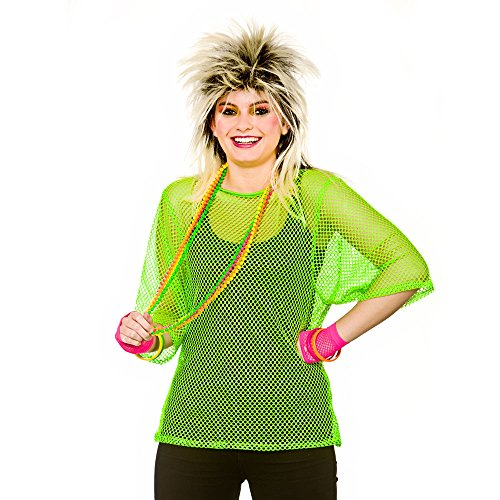 Adult Unisex Neon Fishnet Mesh Top, Standard or Plus Size, choice of colours