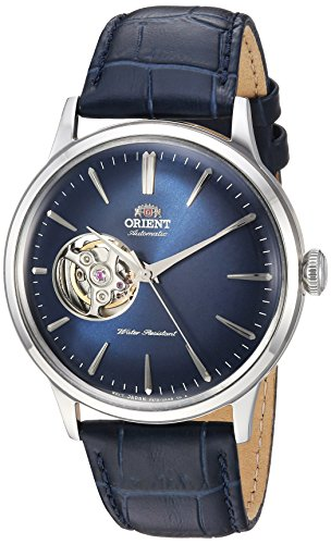 Orient uomo 'Bambino cuore aperto' giapponese automatico in acciaio INOX e pelle orologio da donna, colore: Blu (Model: ra-ag0005l10a)