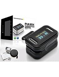 Pulsox - Oxymètre de pouls pour les doigts avec Écran couleur et Alarme, Étui, Batteries, Cordon, Manuel en 5 langues - Garantie de 2 ans - Sécurité Certifié CE - NOIR