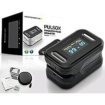 Pulsox - Pulsioxímetro de dedo con pantalla a color y alarma, carcasa, baterías, cordón, manual en 5 idiomas - 2 años de garantía - Certificado CE Seguridad - NEGRO
