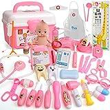 ZMH Valigetta per Bambini Kit Medico 20-39 PCS Illuminazione Sonora Stetoscopio Giocattoli per Bambini Set Medico Costume Cosplay Dottore Stetoscopio Regalo,37PCS(Pink)