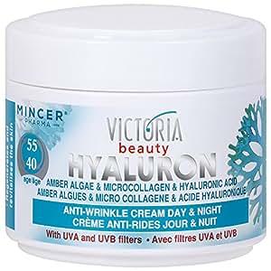 Victoria Beauty - Crème Visage Jour et Nuit - Micro-Collagène & Acide Hyaluronique - Anti-Vieillisement (Age 40+)- Hyaluron et ambre Algues - 50ml