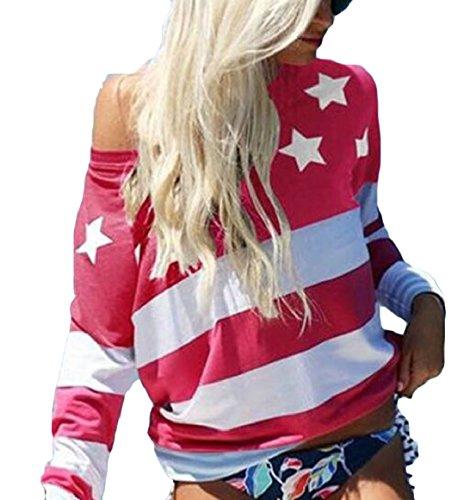 security Women's American Flag Print Tops Crewneck Long Sleeve Loose Top Blouse