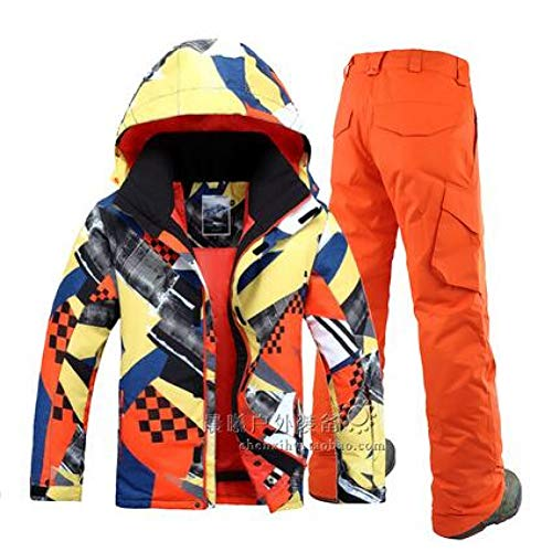 HXFNX Traje De Esquí para Hombres Gsou Snow Band Impermeable Ropa Al Aire Libre Camping Riding Skiing Snowboard Super Warm Jacket + Pants,Color9