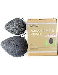 ÉPONGES VISAGE KONJAC NATUREL GAINWELL – Pack de 2 éponges 100% naturelles avec charbon de bambou