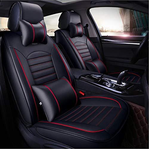 Ededi Leder Sitzbezüge-Set, Universal Wasserdicht Autositzbezüge Voll 9 Satz Auto Innere Zubehör (Farbe : Black+Red)