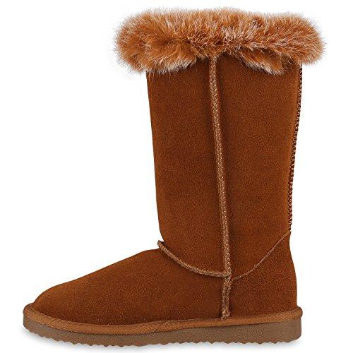 Damen Stiefeletten Leder Schlupfstiefel Boots Karneval Kostüm Fasching Karnevalskostüm Indianer Fransen Squaw Pocahontas Hellbraun Knöpfe