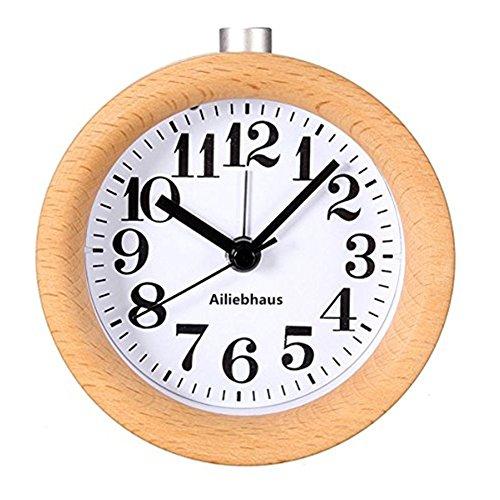Ailiebhaus Wecker aus Holz, klassisch, für Nachttisch, Uhr mit Nachtlicht A#