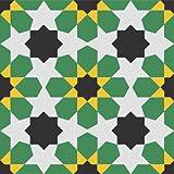 Zementfliese Florina grün gelb - Handarbeit - Vintage Jugendstil Fliese für Altbau Neubau