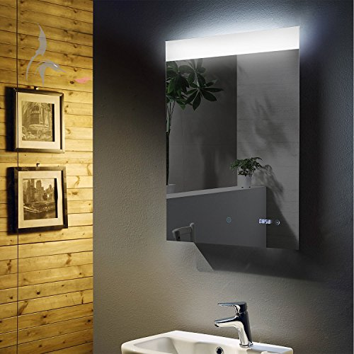 Price comparison product image LED Illuminated Bathroom Mirror with Digital Clock Red Bonn 60 x 80 cm, with wide Bathroom Mirror Light Field Top – Energy Class A +