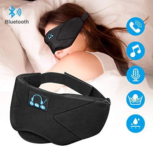 Bluetooth Schlafmaske Laelr Schlafkopfhörer Bluetooth Musik Augenmaske Schlafmaske Therapie Hands-Free Schlafkopfhörer Nachtmaske integrierter Lautsprecher Mikrofon