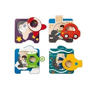 PlanToys - Puzzle de Madera con diseño de vehículos (5675)