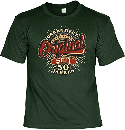 Zum 50. Geburtstag T-Shirt Herren Männer dunkelgrün Größen S- 5XL Lustiges Funshirt Garantiert Original seit 50 Jahren Dunkelgrün
