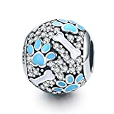 inbeaut Authentic 925Sterling Silber Cubic Zirkonia transparent Tiny Bär Footprints Hund Favorite Knochen Perlen für Charm Armband