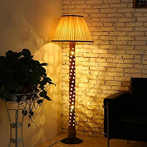 BJVB Light leakage Bamboo tube floor lamp delicate cloth lampshades hand-woven hemp rope around Winding the bedroom floor lamp base