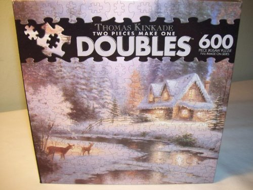 Thomas Kinkade Doubles 600 Piece Jigsaw Puzzle - Deer Creek Cottage by Ceaco Deer Creek Cottage