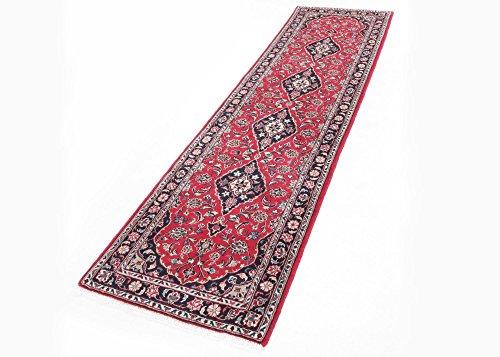 Original Perserteppich Läufer in Rot, und Blau Iran Keshan Wohnzimmer Flur, Größe: 80x300 cm -