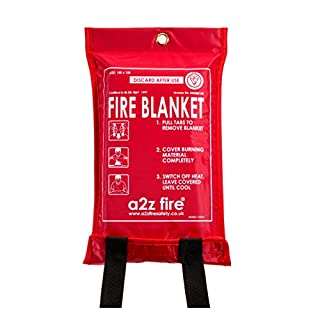 A2Z Fire Safety 1mx1m Fire Blanket in Soft Case-British Standard BSi Kitemarked & CE Approved-Easy to Install & Quick to Deploy in Emergency, Red