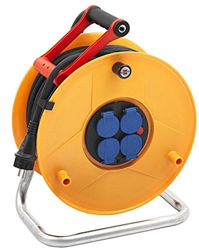 Brennenstuhl enrouleur electrique Standard Pro (câble 40 m, Rallonge Prolongateur électrique Professionnelle pour intérieur et extérieur IP44, jaune), Fabrication Française