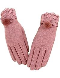BININBOX® Elegant Damen warm härene HandschuheSpitze Blumen Glove Nerzhandschuhe Herbst Winter one Size