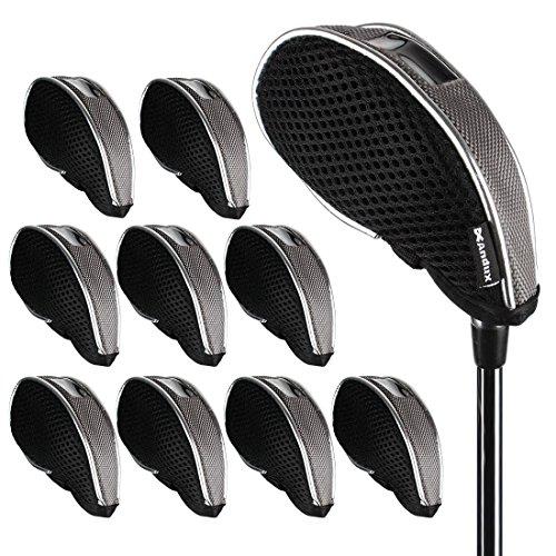 Andux Netz Golf Schlägerkopfhüllen mit Fenster 10pcs/Set 01-YBMT-001-01 Schwarz/Grau
