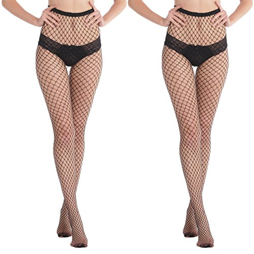 Abollria Strumpfhose netz netzstrumpfhose Damen elastische Netzstrümpfe 2 Stücke per Pack Schwarz (One Size, 2 Stücke Mittelgroße Maschen) (Sehr Outfit Stück 2 Sexy)