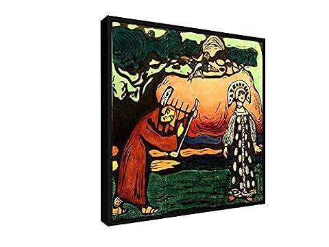 Wassily Kandinsky - Der Dulcimer-Spieler - 50x50 cm - Leinwandbild mit Schattenfugenrahmen - Wand-Bild - Kunst, Gemälde, Foto, Bild auf Leinwand mit Rahmen - Alte Meister / (Russische Folklore Kostüme)