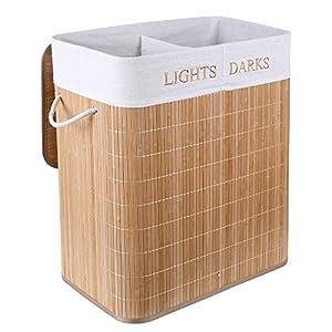 Homfa 100 L Wäschekorb Groß aus Bambus Wäschesammler mit Griffen Wäschetruhe mit 2 Fächern faltbare Wäschesack herausnehmbar 59x52x31cm (Natur)