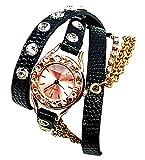 Damen-Uhr Wickelarmband-Uhren schwarz mit Kette rose gold elegant moderne Damen Uhr Wickelarmbanduhr mit Kette und Strass