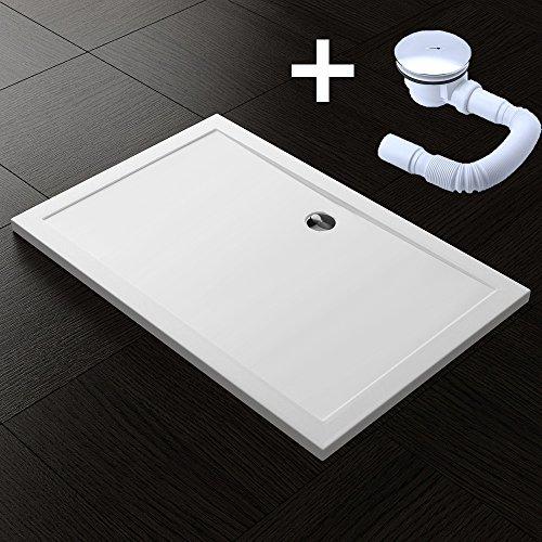 TBH: 90x140x4cm Design Duschtasse Faro2 in Weiß, inkl. Ablaufgarnitur AL01, Duschwanne, Acrylwanne