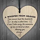 Red Ocean A Whisper From Heaven Wooden Hanging Heart Memorial Plaque Shabby Chic Gift Sign
