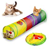 Andiker Cat tunnel, Pet Tunnel Tube Collapsible Toy Indoor Outdoor Toys for Puzzle Exercising Hiding Training and Running with Fun Ball and 2 Holes (Colorful)