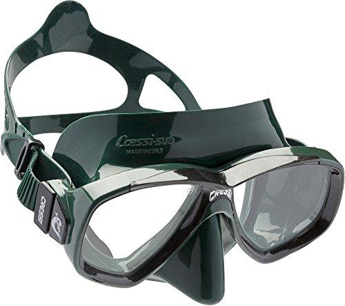 Cressi Perla Mask Masque Verre séparé pour la pêche, l'apnée, Le Snorkeling et la plongée Unisex-Adult, Vert, Une Taille