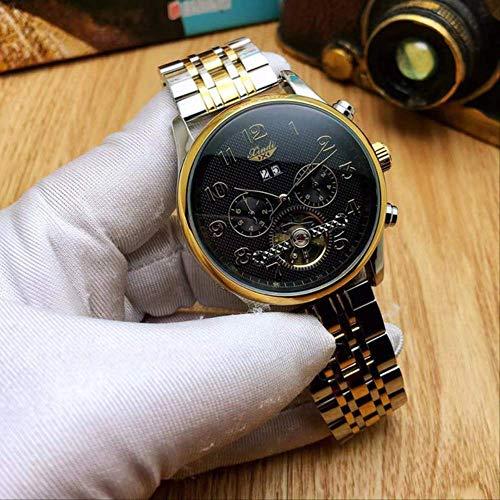 DMZZYGJR Mechanische Uhren für Männer Automatic Man Clock Skeletons Tourbillon Woche Kalender Monat Edelstahlarmband Schwarz