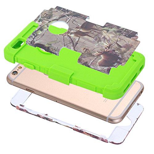 iPhone 6Plus Coque, iPhone 6S Plus Coque, HKW (TM) 3en 1Armor Coque de protection hybride résistant Protection Extrême Coque bumper pour Apple iPhone 6/6S Plus (Arbre Vert + Noir) Brown Tree+Deer+Green