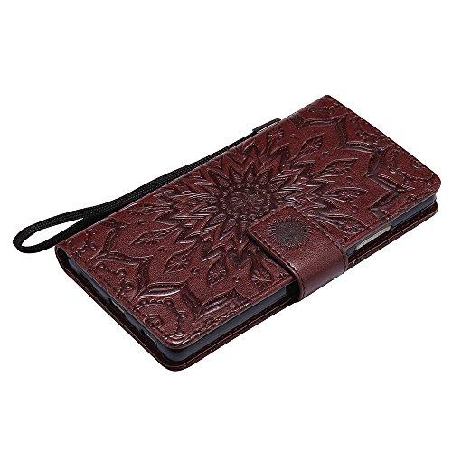 Für Huawei P8 Fall, Prägen Sonnenblume Magnetische Muster Premium Soft PU Leder Brieftasche Stand Case Cover mit Lanyard & Halter & Card Slots ( Color : Brown ) Brown