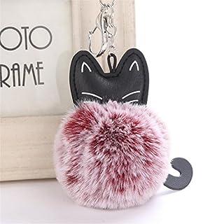 Artistic9(TM) Cute Cat Keychain Pendant Women Key Ring Holder Pompom Keyrings (Wine Red)