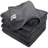 SOFTSPUN Microfiber Cloth - 5 pcs - 40x40 cms - 340 GSM Grey - Thick Lint & Streak-Free Multipurpose Cloths - Automotive Microfibre Towels for Car Bike Cleaning Polishing Washing & Detailing